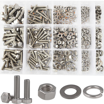 Hex Flat Head Bolt Thread Metric Hexagon Bicycle Machine Screw Nut Washer Assortment Kit Set 304 Stainless Steel M4 M5 M6
