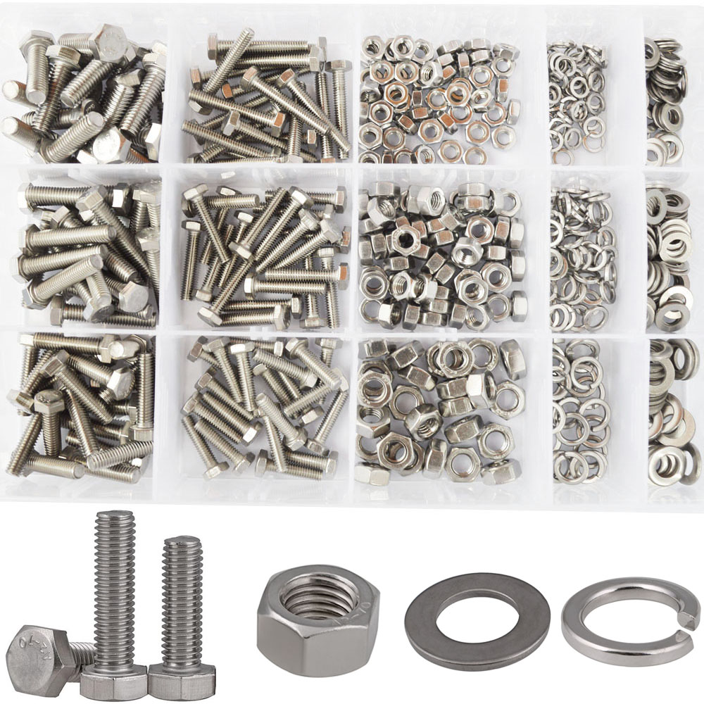 Hex Flat Head Bolt Thread Metric Hexagon Bicycle Machine Nut Screw Washer Assortment Kit Set 304 Stainless Steel M4 M5 M6