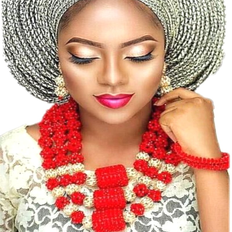 Statement Jewelry Sets Big Balls Red Gold African Nigerian Wedding Beads Jewelry Set 3 Layer Bridal Jewellery Set Free Shipping red color african beads jewelry sets two layer beads indian jewelry sets luxury statement choker necklace fashion jewellery
