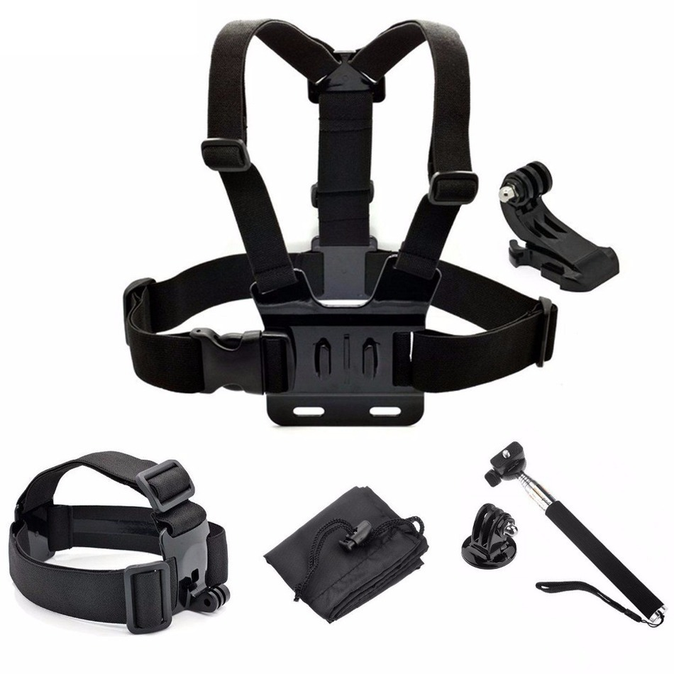 Gopro Accessories Set Head Chest Strap Mount with Monopod for Go pro 3 3 4 4