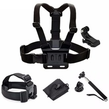 Cheap price Gopro Accessories Set Head Chest Strap Mount with Monopod for Go pro 3 3+ 4 4 Session Xiaomi Yi 4K SJCAM SJ4000 SJ5000 SJ 4000