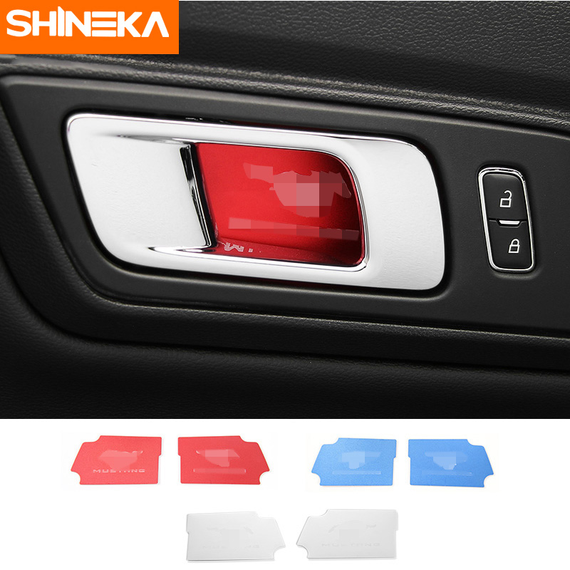 SHINEKA Alluminium Alloy Brendshme Door Handle Bowl Cover 2pcs Pony Shelby Sticker For Ford Mustang 2015+ Styling Car