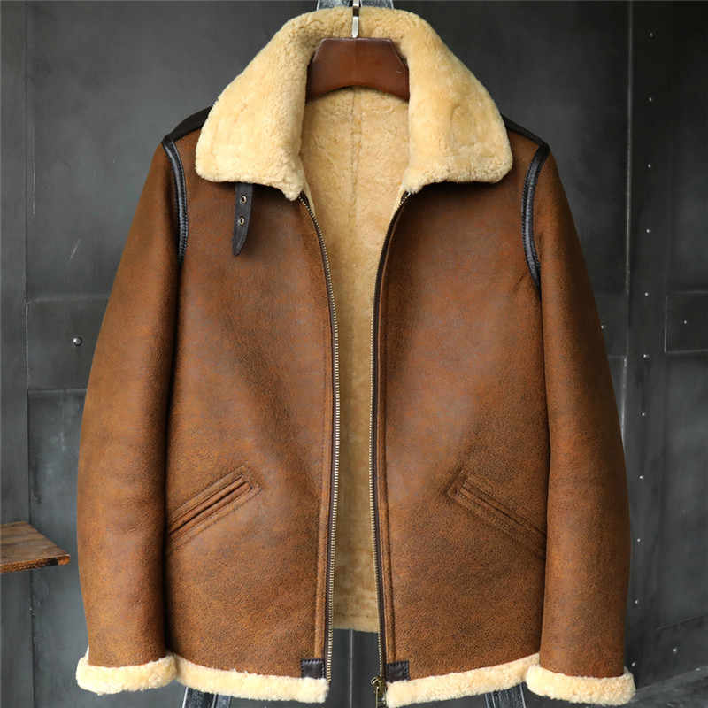 dc7e9687f89 B3 Men s Shearling Jacket Flight Jacket Short Fur Leather Jacket Imported  Wool From Australia Mans Sheepskin