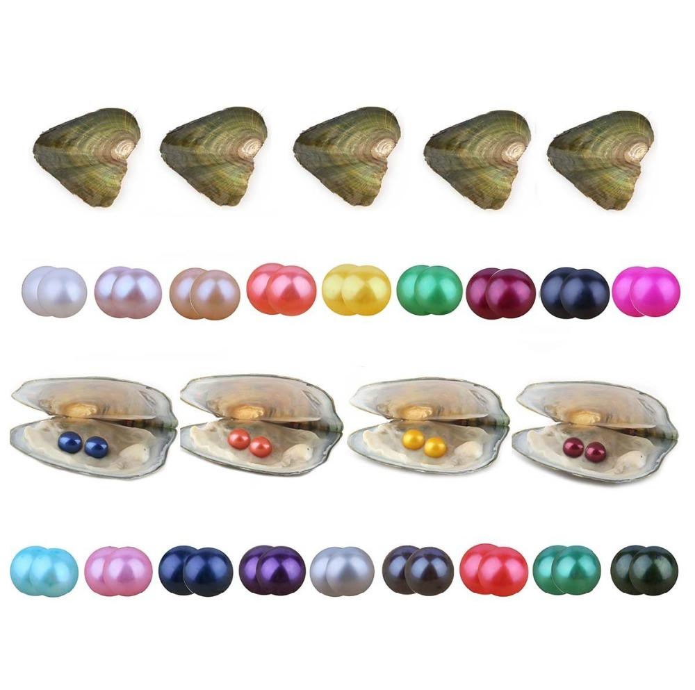 все цены на Twin Pearls Oyster, Wholesale Freshwater Cultured Love Wish Pearl Oysters with Twin Round 6.5-7.5 mm Pearls Inside (10 PCS/lot) онлайн