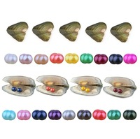 Twin Pearls Oyster, Wholesale Freshwater Cultured Love Wish Pearl Oysters with Twin Round 6.5 7.5 mm Pearls Inside (10 PCS/lot)