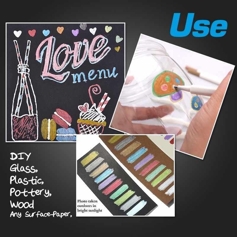 STA 10 Farben Metallischen Marker Stift DIY Scrapbooking Handwerk Weichen Pinsel Stift ołówek do makijażu futro Schreibwaren Schule liefert