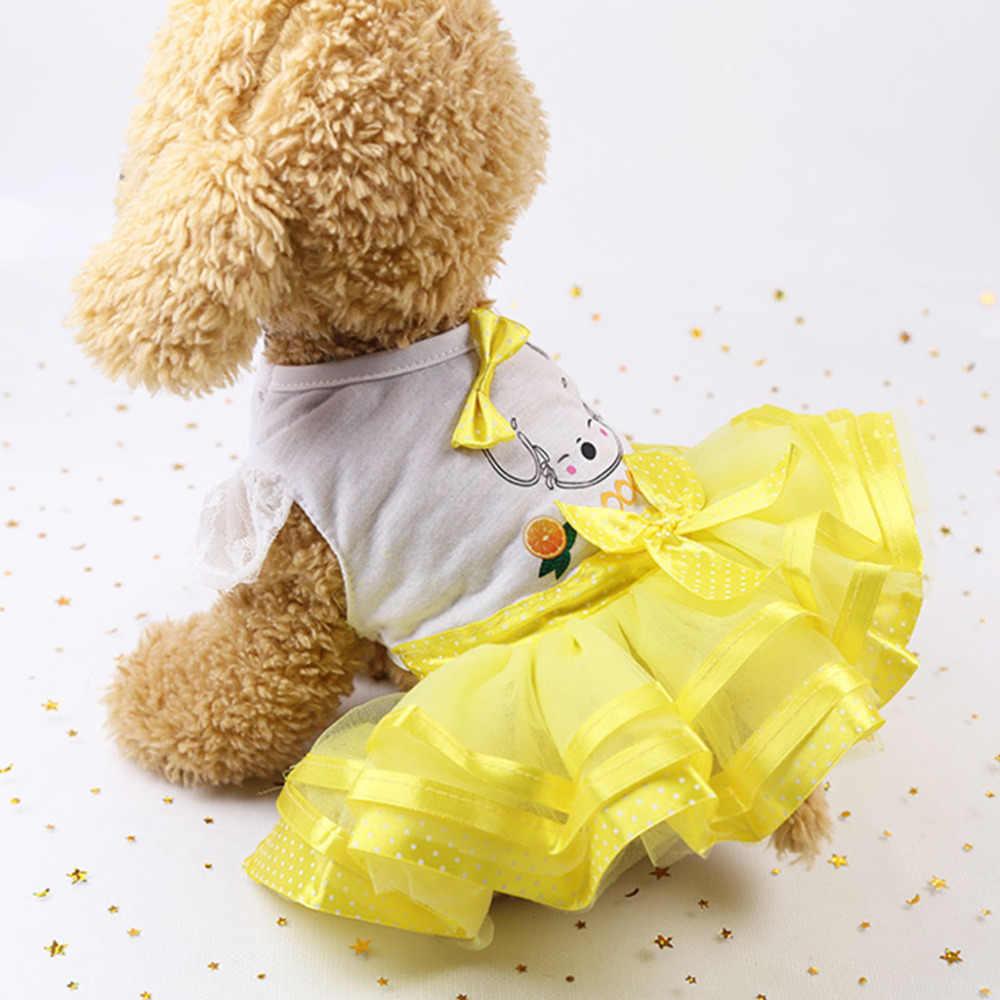Собака кошка платье фрукты Принцесса Летние воздухопроницаемое платье одежда собака одежда для маленьких собак летняя одежда новые Y9 @ X