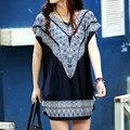 40 diseños nuevos 2017 primavera verano mujer casual dress chica impresión de la moda de ropa de manga corta más el tamaño grande L-5XL TÚNICA
