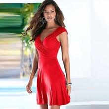 5b304f7c659df7 Hot Dames Nieuwe Collectie Mouwloze V-hals Kantoor Jurken Womens Zomer  Casual A-lijn Leuke Jurk Plus Size Sexy Rode Jurk Vestido.