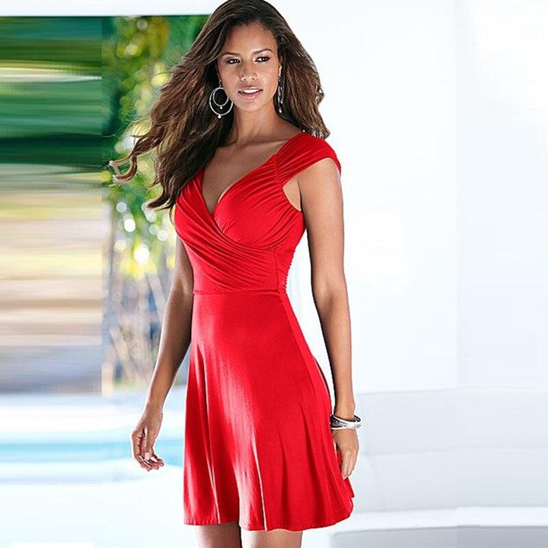 Señoras calientes nueva llegada sin mangas v-cuello Oficina Vestidos Womens verano casual a-line vestido lindo más tamaño sexy vestido rojo vestidos