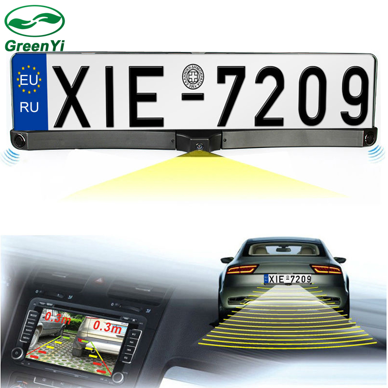 d8fce6ef9ad GreenYi 3in1 Auto Video Parking Sensor with Rear View Camera European  Russia License Plate Frame Backup Parking Camera