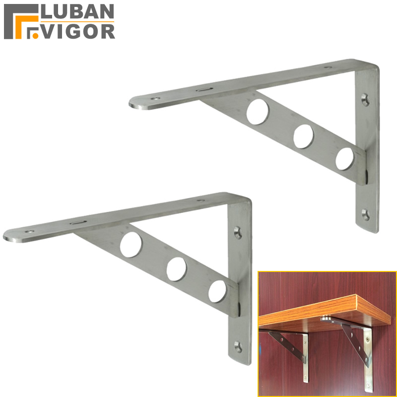 Home Improvement 2pcs Bearing Shelf Wall Mounted Durable Stainless Steel Adjustable Home Table Triangle Folding Bracket Diy Angle Commodities Are Available Without Restriction
