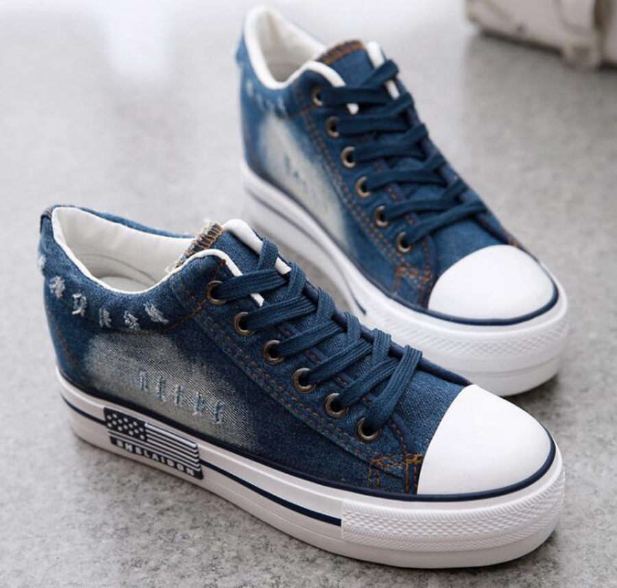Spring Single Shoes Korean Canvas Shoes Women's Thick Bottom Increased Denim Shoes Student Casual ladies Cloth Shoes