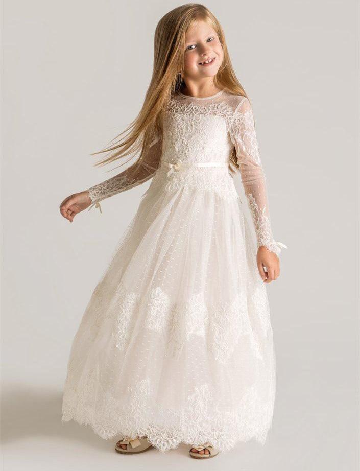все цены на Little Princess Ivory First Communion Dresses Ankle Length Long Sleeves O-neck Formal Back Zipper White for Flower Girl Dresses