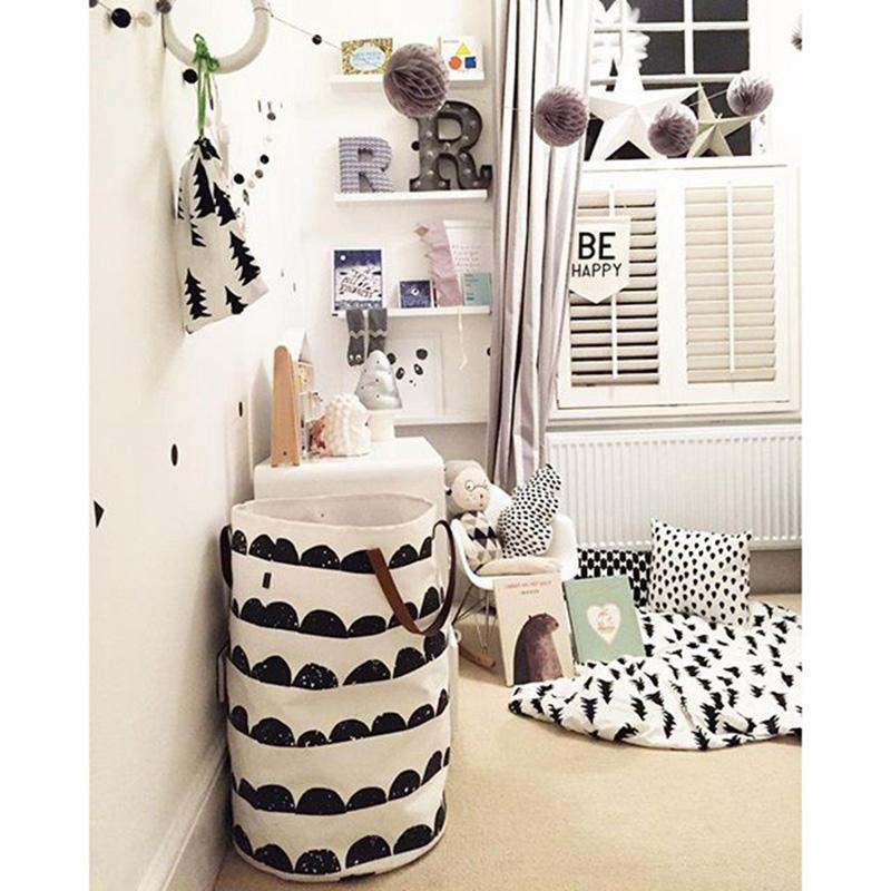 Kids Baby Toys Storage Canvas Bags Storage Bucket Modern Style Toy Bucket Nordic Home Leather Handle Can Stand Canvas Bag