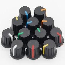 Новинка! Горячая 12 шт. 6 мм диаметр отверстия вала пластиковые резьбовые накатанные ручки потенциометра колпачки