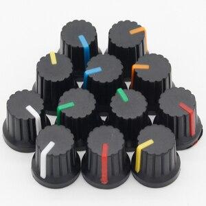 Newest !! Hot Sale 12 Pcs 6mm Shaft Hole Dia Plastic Threaded Knurled Potentiometer Knobs Caps(China)