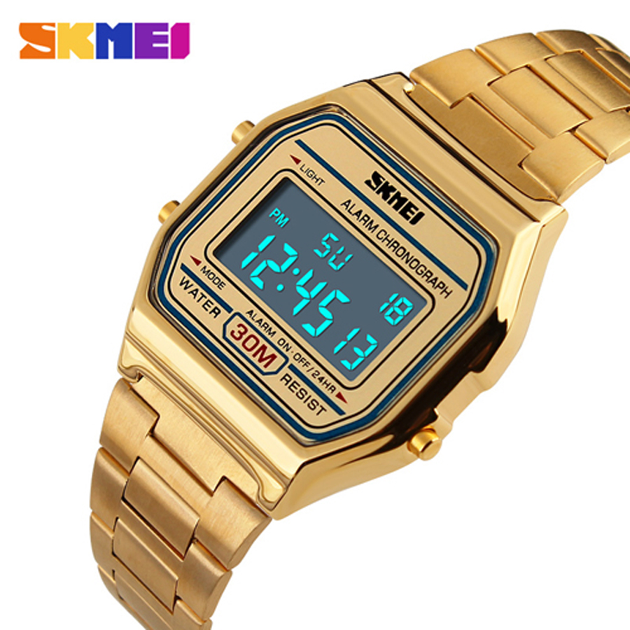 SKMEI 1123 Men LED Digital Watch Sports Watches men's Relogio Masculino Relojes Stainless Steel Military Waterproof Wristwatches