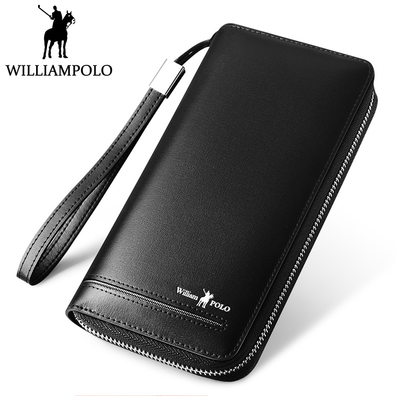 WILLIAMPOLO Men Clutch Wallet Genuine Leather Card Holder Wallet With Hand Strap Zipper Wallet Clutch Bag Purse Luxury For Male gordak high quality 220v 110v gordak 952 2 in 1 desoldering station hot air gun soldering iron