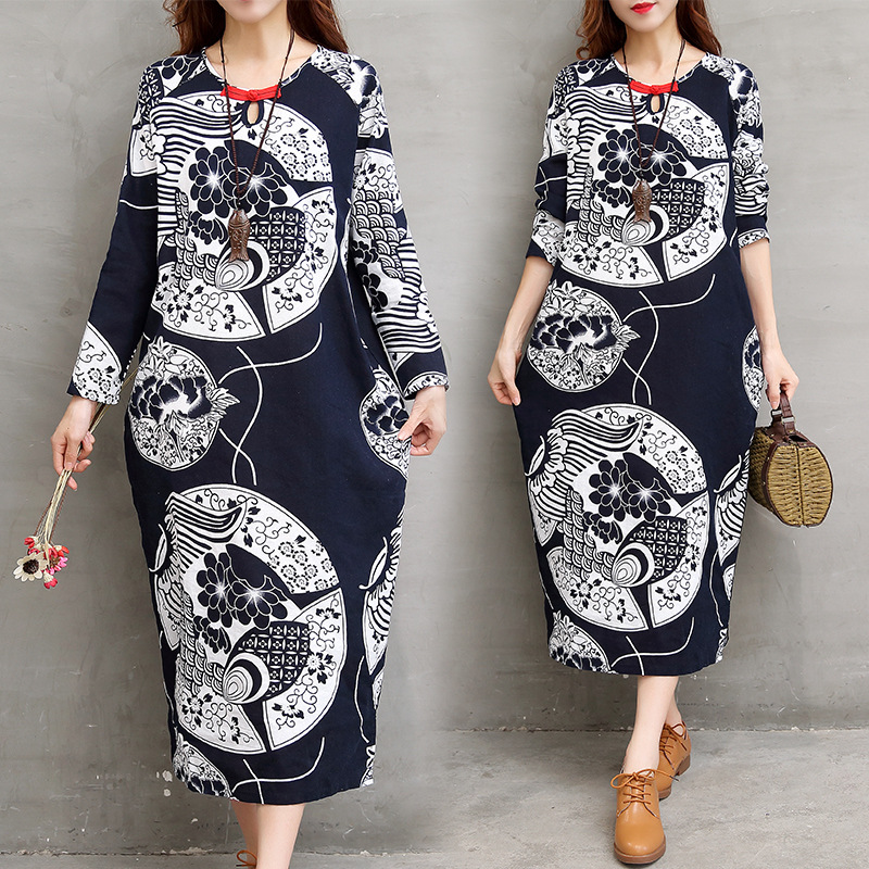 a4b563f385a Maternity Dress Autumn 2017 New Large Size Pregnant Women Retro Cotton  Linen Printed Handmade Buckle O-neck Dresses YFQ178