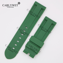 CARLYWET 24mm Wholesale Newest Green Waterproof Silicone Rubber Replacement Wrist Watch Band Strap Belt for Brand