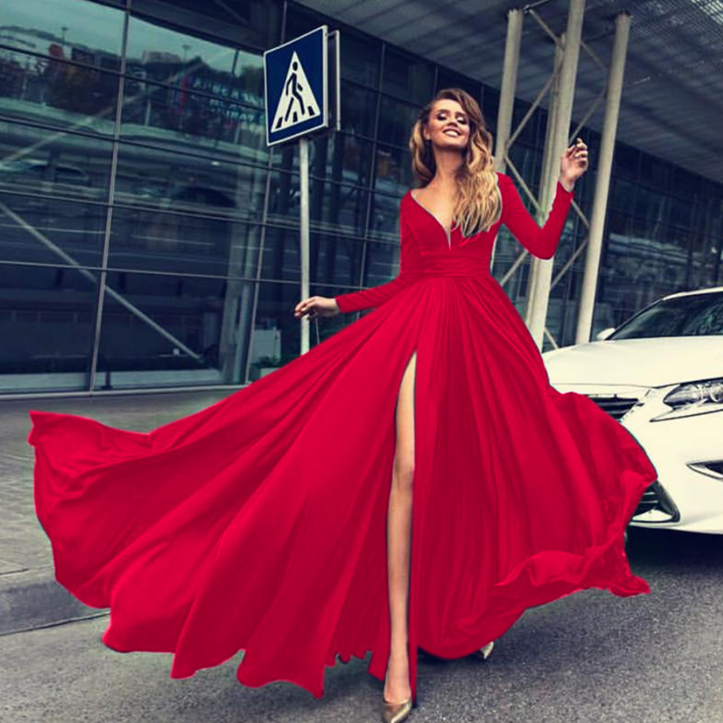 <font><b>Sexy</b></font> Deep-V Floor-Length <font><b>Dresses</b></font> Women Summer Split Hem Long Sleeve Backless <font><b>Vintage</b></font> <font><b>Dress</b></font> Red Long Elegant Party <font><b>Dress</b></font> Vestidos image