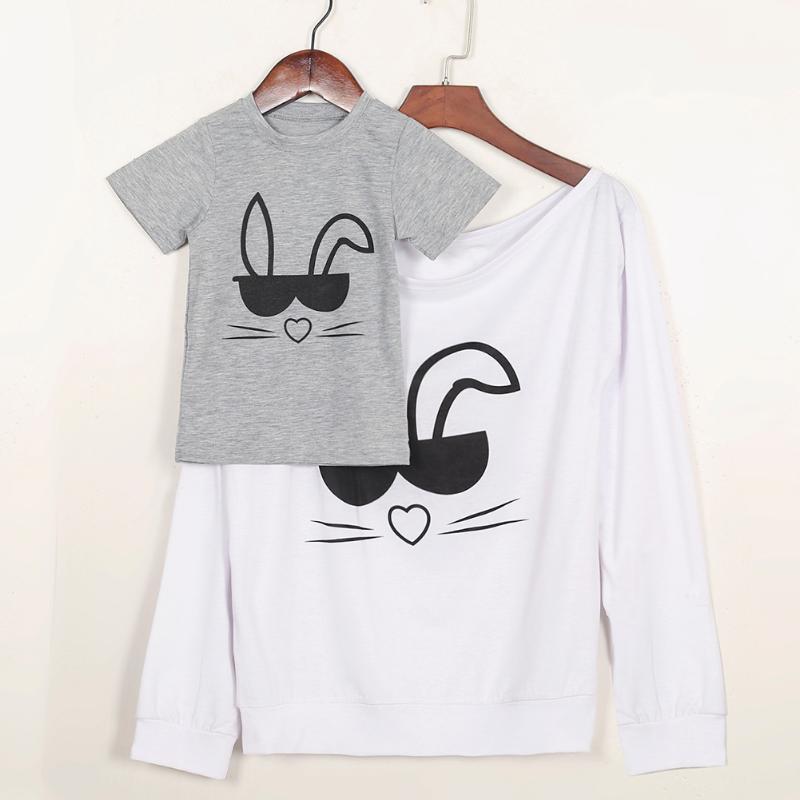 Christmas Family Kits Rabbit T-shirt Mom Son Matching Clothes Set Cotton Top Parent-Kids Cartoon Printed Outfits