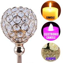 Crystal Iron Candelabra Centerpieces Table Candlesticks Holder, K9 Crystal