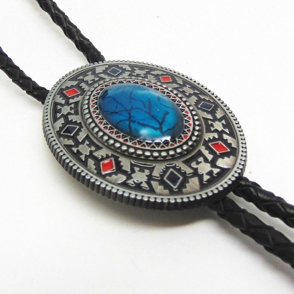 Ручной работы Southwest Тотем Аквамарин ковбойские Боло галстук для рубашка галстук из металла Цепочки и ожерелья ювелирные изделия