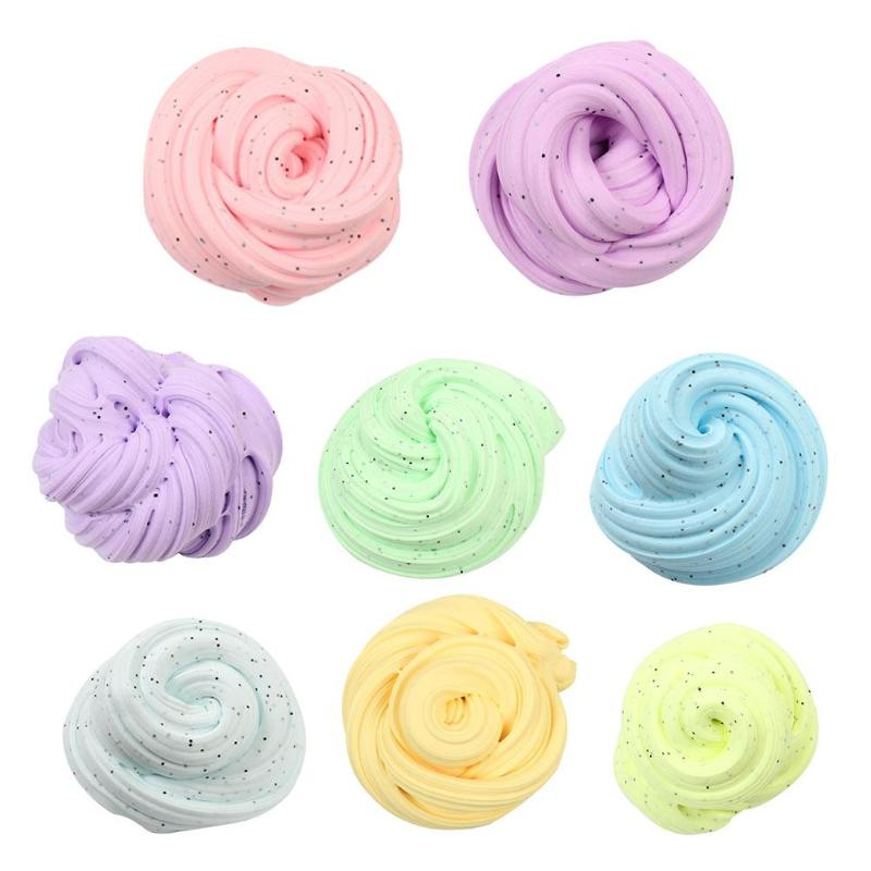 Solid Color Crystal Clay Toy Mud Creative Slime Fluffy Putty Children Intelligent Modeling Clay Toy Ideal Art Craft DIY Tool