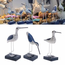 Marine Wooden Seabirds Mediterranean Style Crafts Creative Photography Scenery Wood Carving Home Decoration Accessories