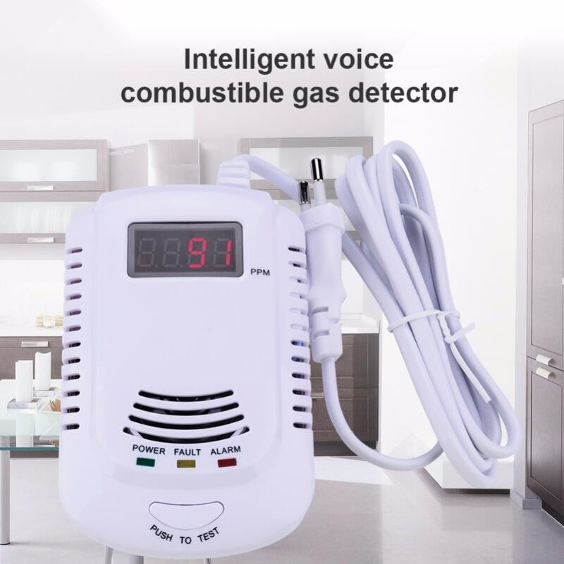 цены New Home Standalone Plug-In Combustible Gas Detector LPG LNG Coal Natural Gas Leak Alarm Sensor With Voice Warning Alarm Sensor