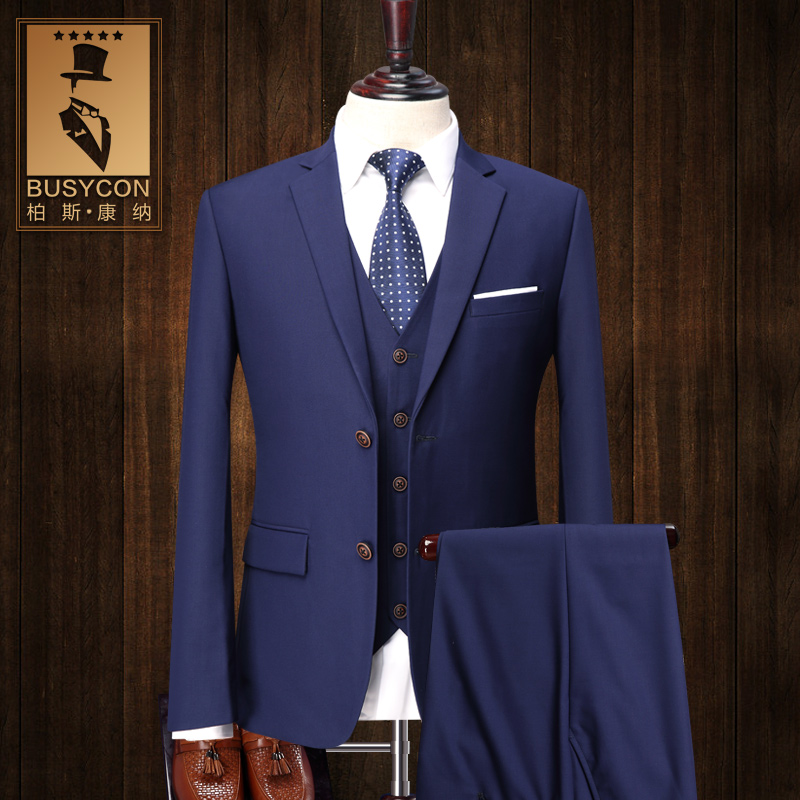 fashion slim fit 3 pieces royal blue suit for men with pants italian blue wedding tuxedo - Costume Mariage Homme 3 Pieces