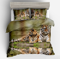 3D Print Bedding Sets Twin Full Queen Super Cal King Size duvet cover pillow case Tigers Animals Oil Painting Adult Blue green