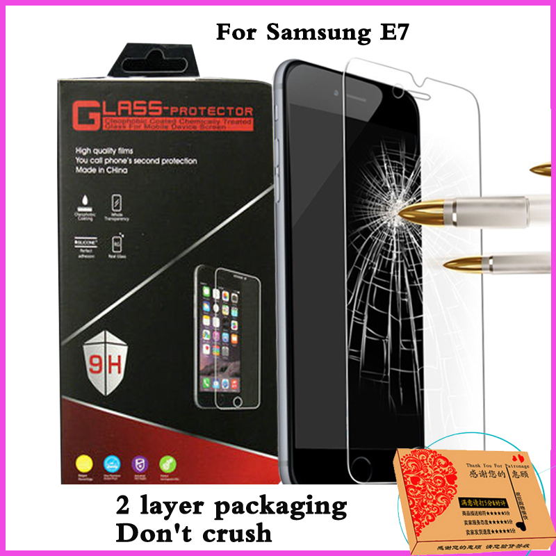 screen protector front film Tempered Glass For Samsung Galaxy e7 e 7 glass 2.5d front screen protector protective Film clear