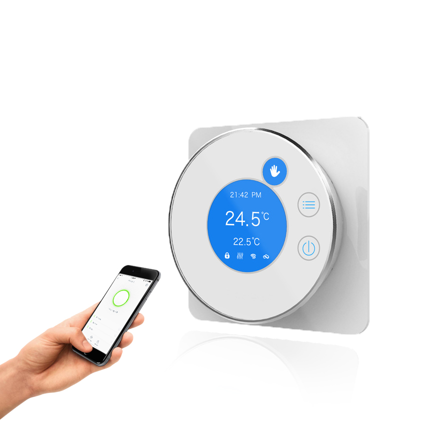 WIFI Thermostat Controlled by IOS Smart Phone Energy Saving Infrared Radiator Controller touchscreen programmable wifi thermostat for four pipe fan coil unit controlled by android ios smart phone in home or abroad