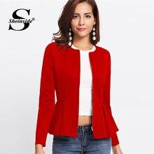 Sheinside Red Autumn Jacket Women Zip Up Box Pleated Peplum Coat Ruffle Tiered Layer Outerwear 2018 Womens Jackets And Coats
