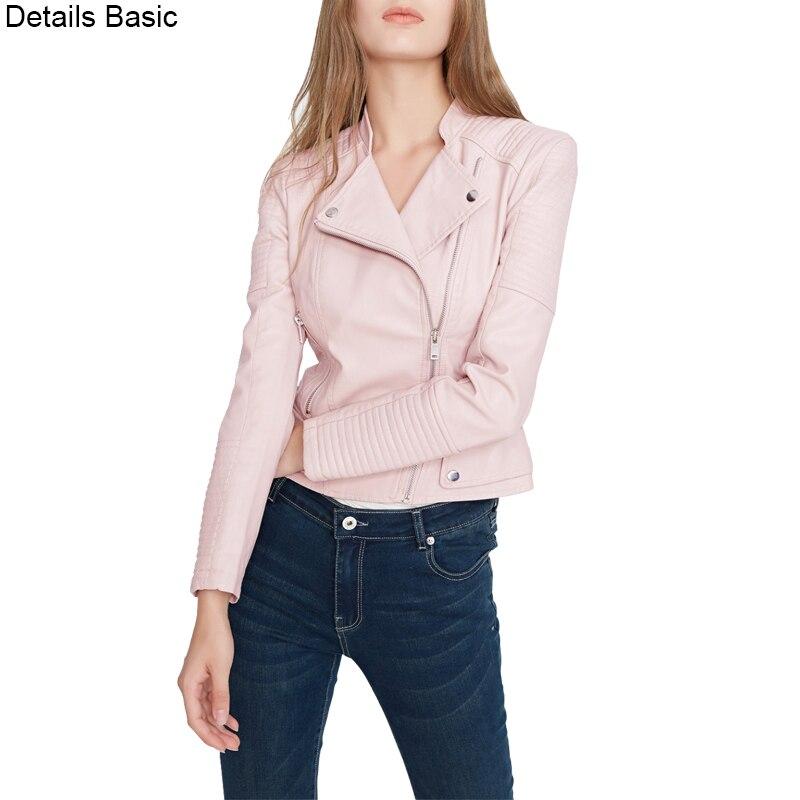Women faux   leather   jacket long sleeve PU coat red S-XL motorcycle biker jaquetas casacos de couro feminine coat drop shipping