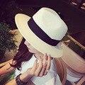 Mulheres primavera Verão Sunhats Sombreros Verano Mujer Senhoras Da Moda Praia Palha Panamá Chapéu Chapeau Femme Panamá Tampas para As Mulheres