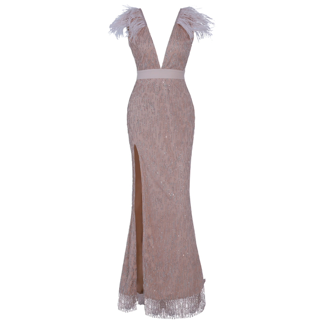 Missord 2019 Women Sexy Deep V Off Shoulder Glitter Dresses Female High Split Elegant Feather Dress FT19565 4