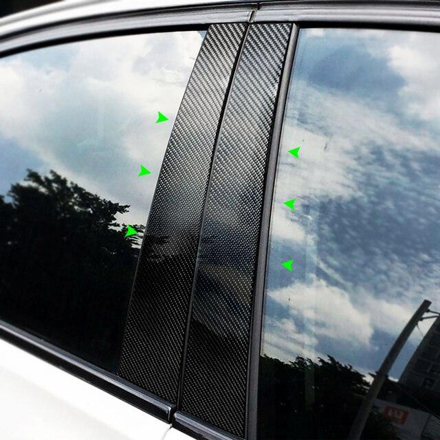 Moldura de fibra de carbono para ventana embellecedor para BMW serie 1 3 5 E90 E60 F30 F10 X5 X6 X1 X3 E70 E71 F15 F16 F07 F25 E46 E84
