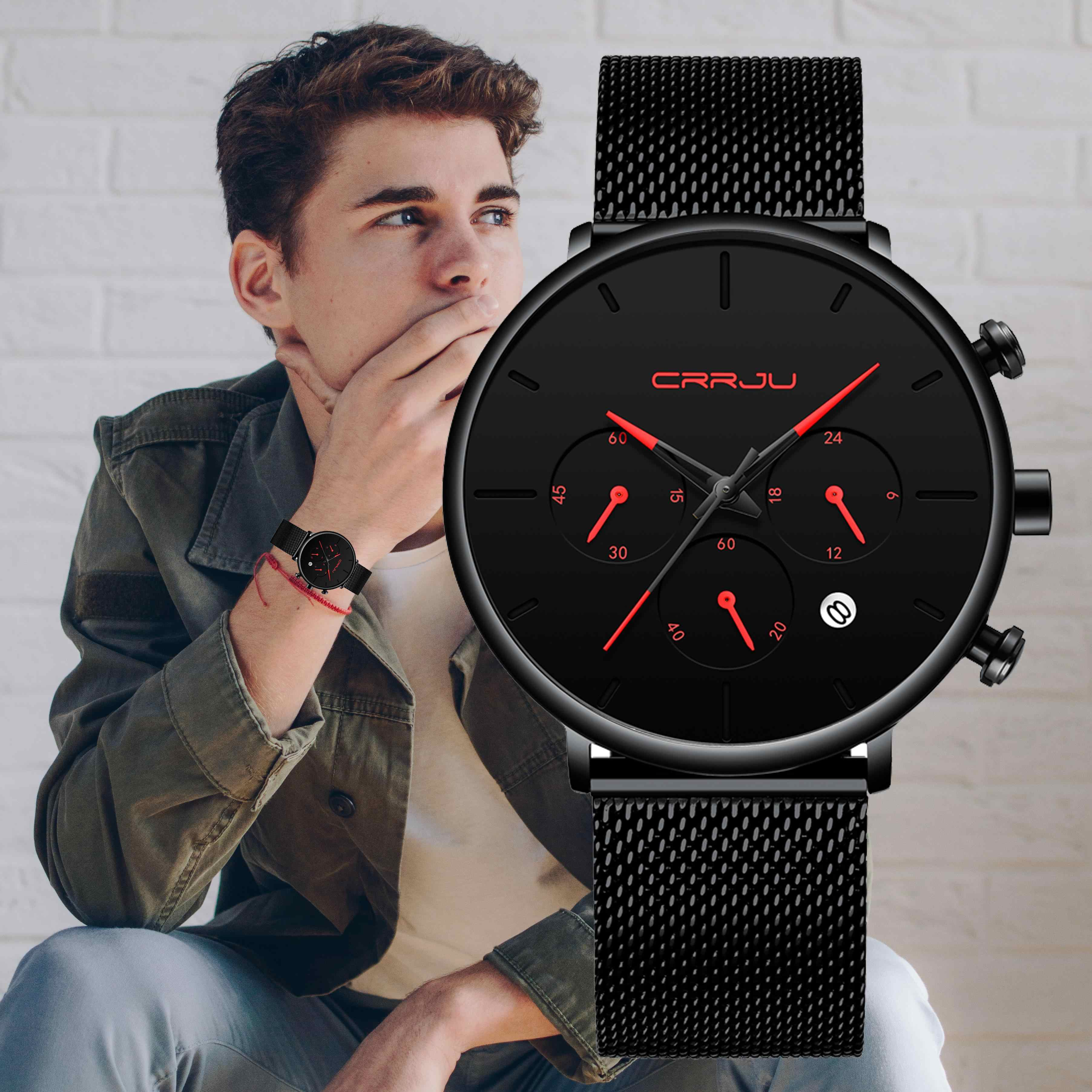 Relogio Masculino CRRJU hommes d'affaires montres de luxe décontracté étanche Sport montre hommes 3-sous cadran Quartz mince maille montre
