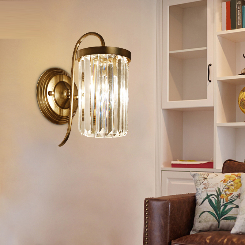 Vintage Iron Crystal Lamp LED Wall Lamp Bedside Lamp In The Living Room Bedroom Aisle Porch Retro Creative Wall light