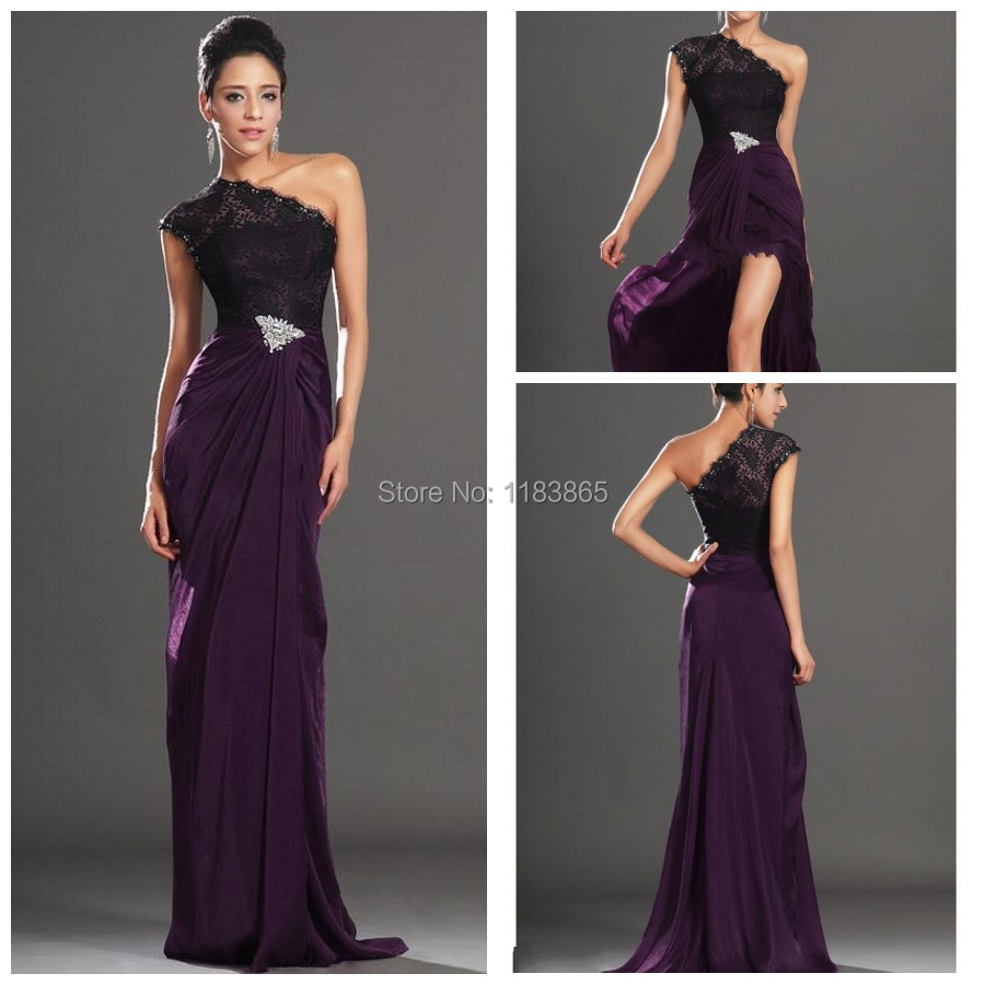 Gown set picture more detailed picture about 2014 new arrival 2014 new arrival evening dresses one shoulder dark purple black lace crystals pin red carpet chiffon ombrellifo Image collections