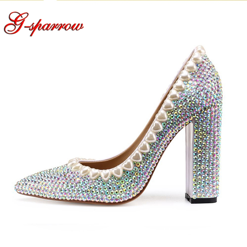 2019 New Fashion Wedding Shoes Handicraft Customized Pointed Toe 4 Inches High Heels Chunky Heel Woman Party Prom Pumps bride wedding shoes 2018 chunky heel banquet party shoes fashion white pearl prom high heels pointed toe lady pumps size 41