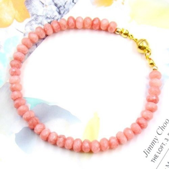Natural Stone Jewelry Vintage Classic Delicate High Quality Rhodochrosite Pink Beads Bracelet   for Women 21cm