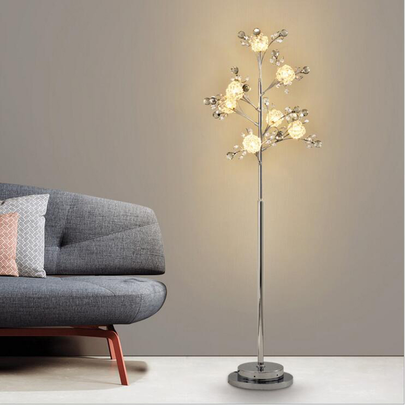 Creative bedroom tree branches crystal lamp stand lamps European living room led floor lamp Nordic vertical table led fixture french garden vertical floor lamp modern ceramic crystal lamp hotel room bedroom floor lamps dining lamp simple bedside lights