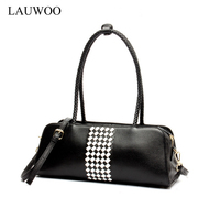 LAUWOO Latest Women Weave Cow Leather Shoulder Bag Ladies Luxury Brand Leather Handbags Female Leisure Casual