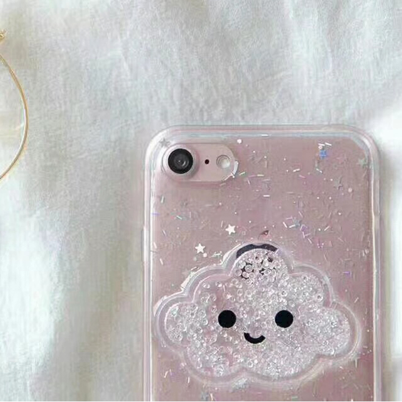 Cute Glitter Powder Smile Face Clouds Mobile Phone Case For iPhone X Soft TPU Dynamic Beads Back Cover For iphone 6 6s 7 8 Plus Case (3)