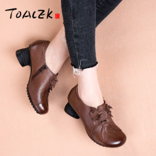 Coloring retro folk-style nude boots, thick-heeled leather comfortable womens single sand, mid-heeled shoes